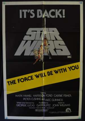 Star Wars Poster Original One Sheet 1981 Re-Issue It's Back Tom Jung Art