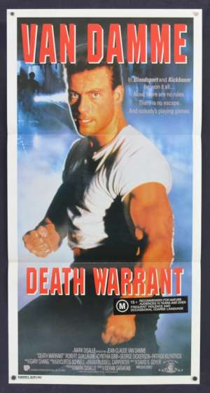 Death Warrant Poster Original Daybill 1990 Jean-Claude Van Damme Martial Arts