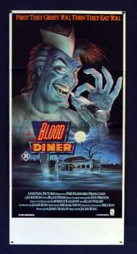 Blood Diner 1987 Rare Daybill movie poster Horror Blood Feast Slasher