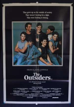 The Outsiders Movie Poster Original One Sheet Tom Cruise Patrick Swayze Matt Dillion