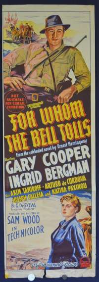 For Whom The Bell Tolls (1943) Gary Cooper Style A Daybill Litho movie poster