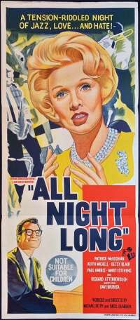 All Night Long 1962 Daybill movie poster Patrick McGoohan Marti Stevens Jazz Music