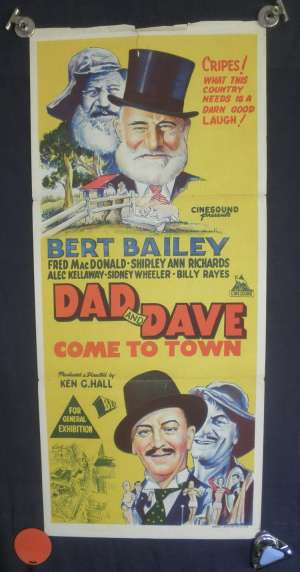 Dad And Dave Come To Town Poster Bert Bailey Australian Daybill Poster