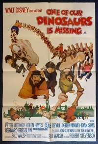 One Of Our Dinosaurs Is Missing Poster Original One Sheet 1975 Disney Peter Ustinov