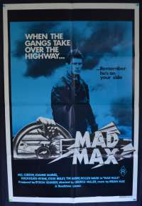 Mad Max Movie Poster Original One Sheet 1982 Re-Issue Mel Gibson Rockatansky