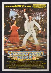 Saturday Night Fever 1977 One Sheet Movie poster 1979 RI John Travolta Bee Gees