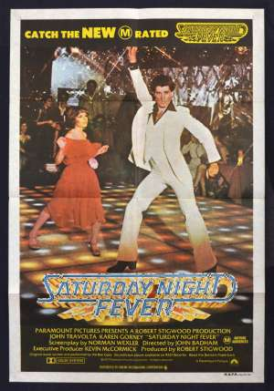 Saturday Night Fever Poster Original One Sheet Poster 1979 RI John Travolta Bee Gees