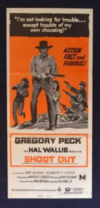 Shoot Out 1971 Daybill movie poster Western Gregory Peck Henry Hathaway
