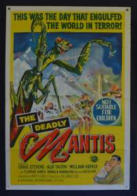 The Deadly Mantis Movie Poster Original One Sheet 1957 Horror Sci-Fi Universal
