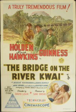 The Bridge On The River Kwai Poster Original One Sheet William Holden