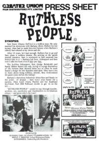 Ruthless People 1986 Movie Press Sheet Danny DeVito Bette Midler Helen Slater