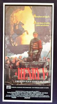 Henry V 1989 movie poster Daybill Kenneth Branagh Shakespeare Paul Scofield