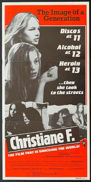 Christiane F. 1981 Daybill Movie Poster Drugs David Bowie