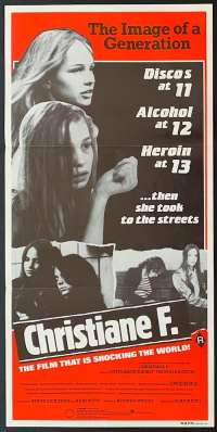 Christiane F. 1981 movie poster drugs David Bowie Daybill