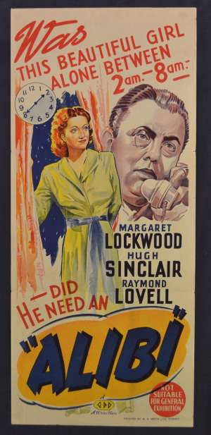 Alibi Movie Poster Original Daybill 1942 Margaret Lockwood Film Noir