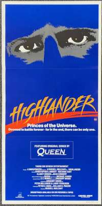 Highlander 1986 Daybill movie poster Christopher Lambert Sean Connery Queen