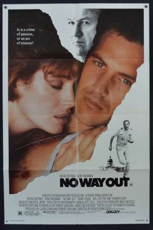 No Way Out 1987 USA One Sheet Poster Kevin Costner Gene Hackman Sean Young