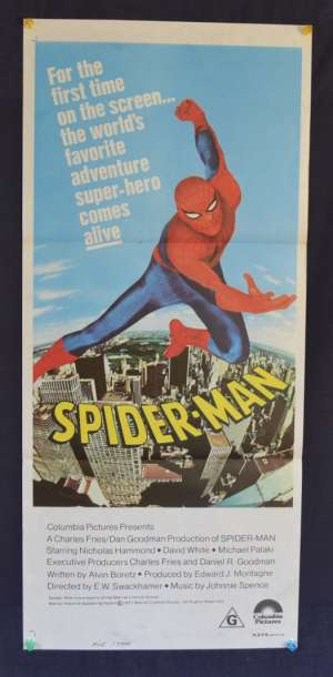 Spiderman Movie Poster Original Daybill 1977 Nicholas Hammond