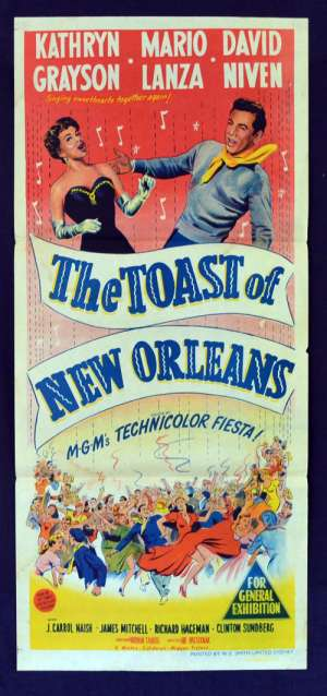 The Toast Of New Orleans 1950 Daybill movie poster Mario Lanza Kathryn Grayson