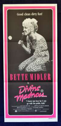 Divine Madness 1980 Daybill Movie Poster Bette Midler Concert Music Tour