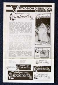 Cinderella 1950 Original Re-Issue 1990 Movie Press Sheet