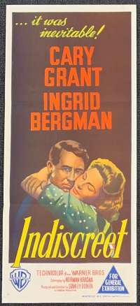 Indiscreet 1958 Daybill movie poster Cary Grant Ingrid Bergman Stanley Donen