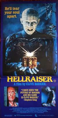 Hellraiser 1987 Daybill movie poster Horror Pinhead Clive Barker