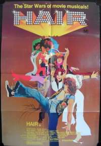 Hair 1979 movie poster One Sheet Musical Milos Foreman Treat Williams
