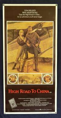 High Road To China 1983 Rare Rolled Daybill movie poster Tom Selleck Bi-Planes