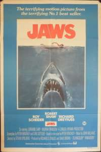 Jaws Movie Poster Original One Sheet 1975 Re-Issue Robert Shaw Roy Scheider