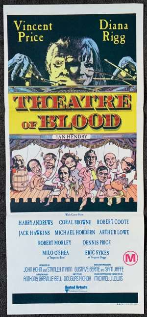 Theatre Of Blood Poster Original Daybill 1973 Vincent Price Diana Rigg Horror