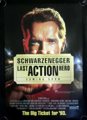 Last Action Hero Movie Poster Original One Sheet 1993 Advance Art Schwarzenegger