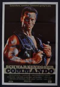 Commando movie poster Original One Sheet Arnold Schwarzenegger