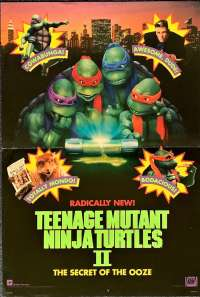 Teenage Mutant Ninja Turtles II - The Secret Of The Ooze 1991 Mini - Daybill Movie Poster Vanilla Ice RARE art