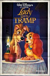Lady And The Tramp Movie Poster Original One Sheet Disney 1986 Re-Issue