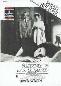 Suddenly Last Summer 1959 Home Video Press Release 1986 Elizabeth Taylor Katharine Hepburn