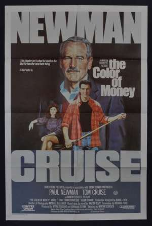 The Color Of Money Poster Original One Sheet 1986 Tom Cruise Paul Newman Hustler