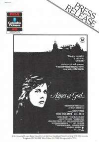 Agnes Of God 1985 Home Video 3 page 1986 Press Release Jane Fonda