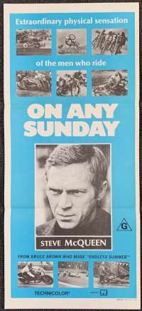 On Any Sunday Poster Original Daybill Style B 1971 Steve McQueen Bruce Brown