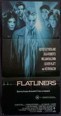 Flatliners 1990 Daybill movie poster Kiefer Sutherland Julia Roberts Kevin Bacon