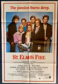 St Elmos Fire Movie Poster Original One Sheet Rob Lowe Demi Moore Emilio Estevez