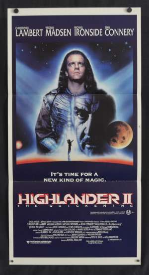 Highlander 2 The Quickening Poster Daybill Christopher Lambert Sean Connery