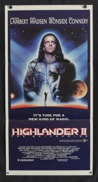 Highlander II: The Quickening movie poster Daybill Christopher Lambert Sean Connery