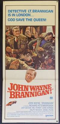 Brannigan Movie Poster Original Daybill John Wayne Cop Richard Attenborough