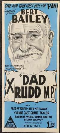 Dad Rudd M.P. Movie Poster Original Daybill Bert Bailey Fred McDonald
