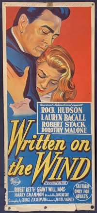 Written On The Wind Poster Original Daybill 1956 Rock Hudson Lauren Bacall