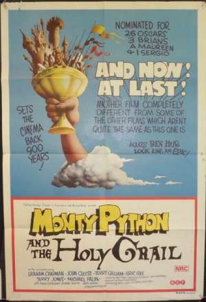 Monty Python And The Holy Grail 1975 movie poster King Arthur One Sheet