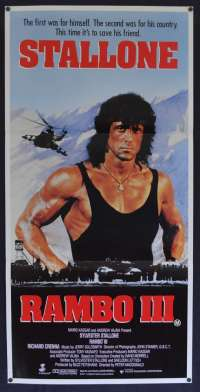 Rambo III movie poster Daybill Sylvester Stallone Richard Crenna