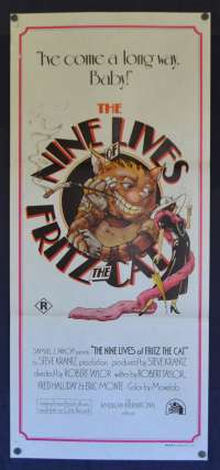 The Nine Lives Of Fritz The Cat Daybill Poster 1974 Adult Animation R Rated