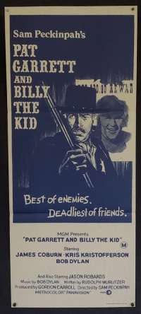 Pat Garrett And Billy The Kid Daybill Original Movie Poster Rare Blue Art RI